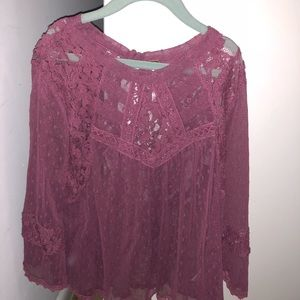 Free People maroon lace top size small